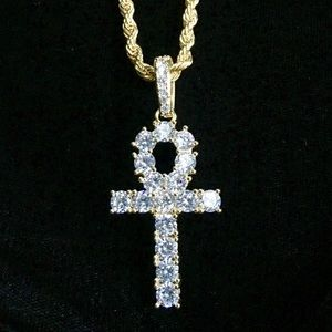 Other - ANKH FULL DIAMONDS CZ 18K GOLD CHAIN MADE IN ITALY